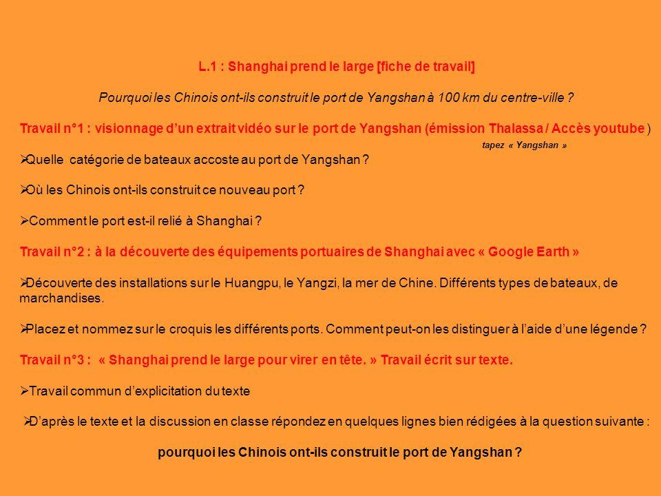 L.1 : Shanghai prend le large [fiche de travail]